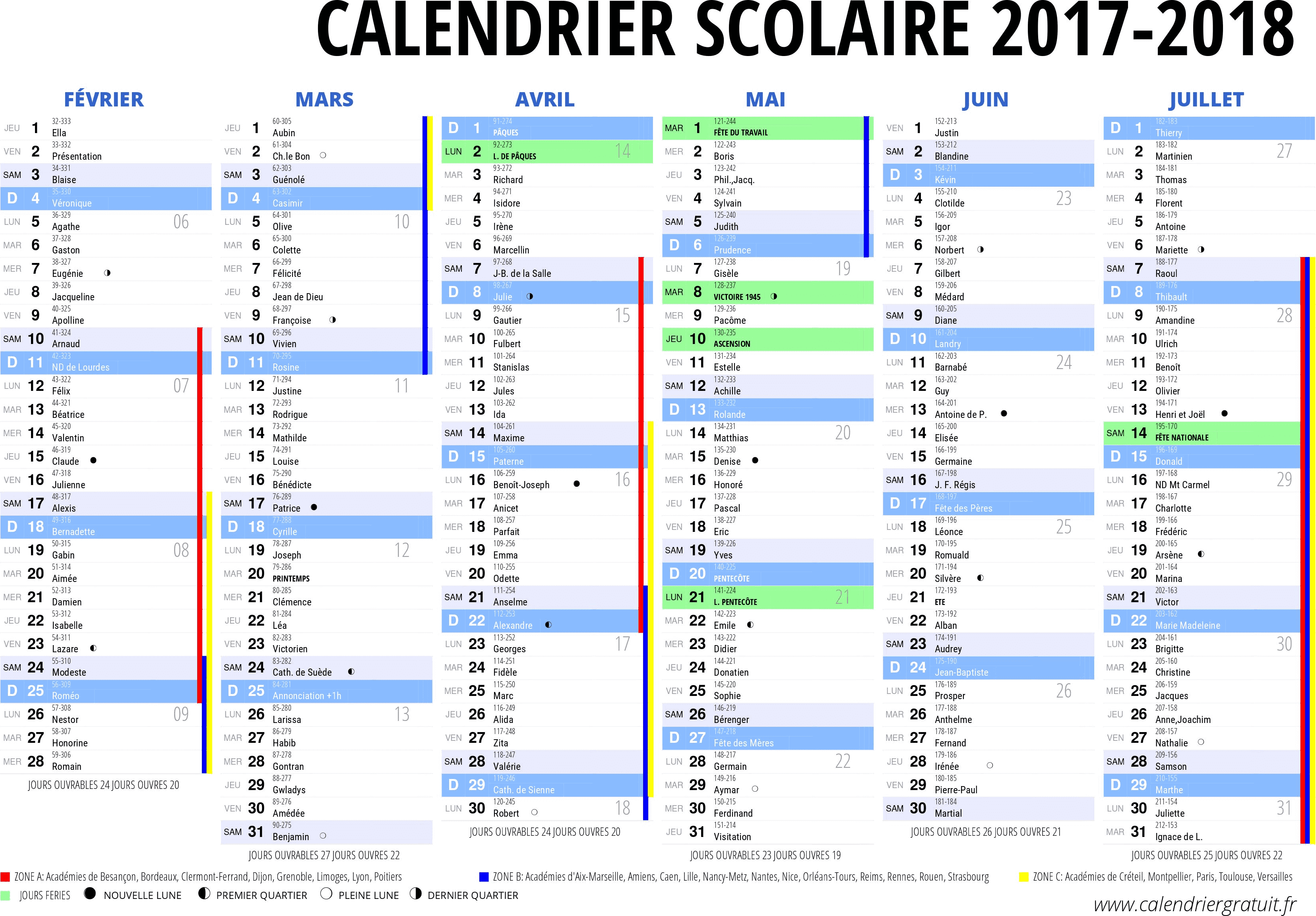 calendrier 2017 2018 imprimer jours f ri s vacances calendriers pdf excel. Black Bedroom Furniture Sets. Home Design Ideas