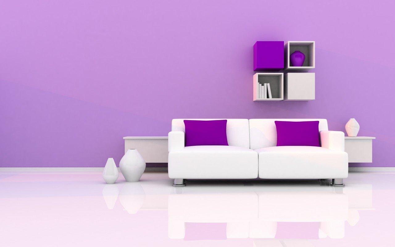 tlchargez ce fond dcran minimaliste dun intrieur violet et blanc - Salon Noir Blanc Violet