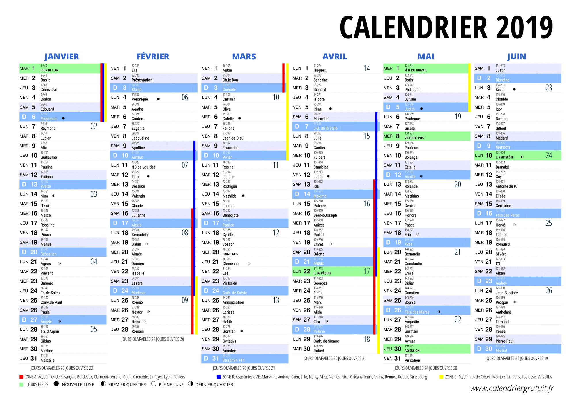 Calendrier 2020 Semaine Numerotees.Calendrier 2019 A Imprimer Gratuit Au Format Pdf