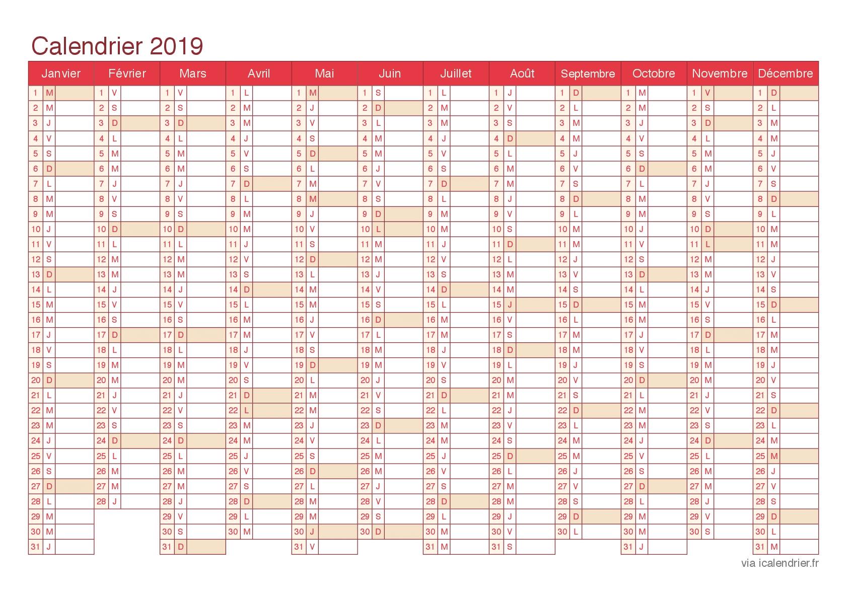 Calendrier Annuel Excel.Calendrier 2019 A Imprimer Gratuit Au Format Pdf