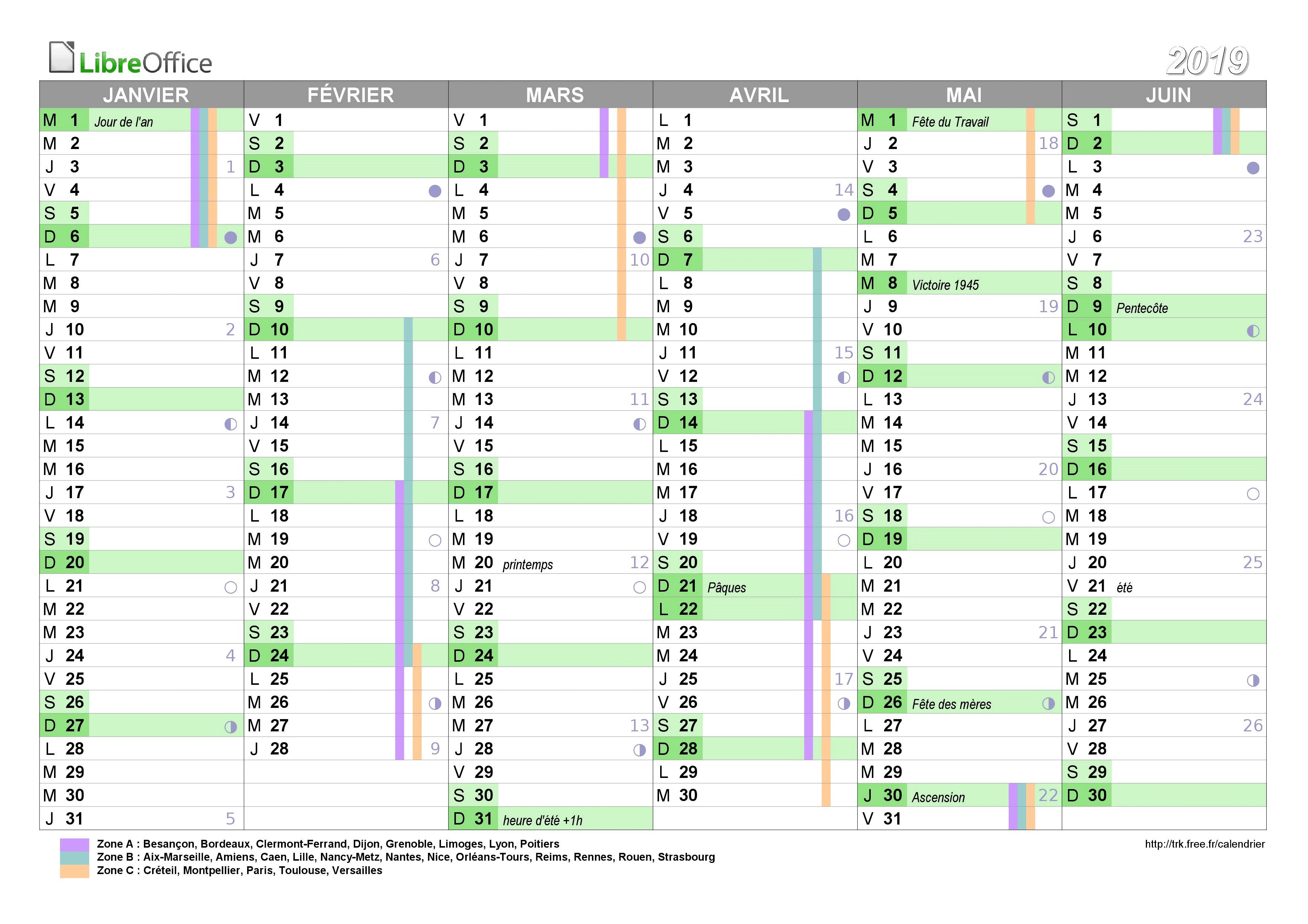 Calendrier Scolaire 2019 2020 Excel.Calendrier 2019 A Imprimer Jours Feries Vacances