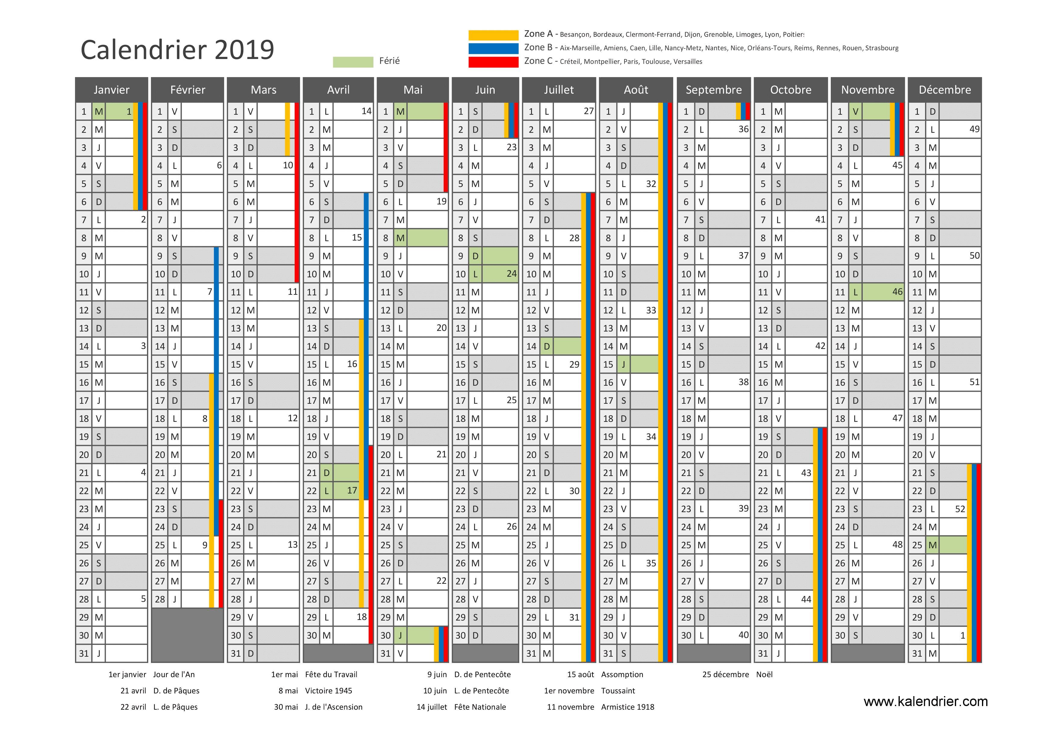 Calendrier Des Vacances Scolaires 2020 2019.Calendrier 2019 A Imprimer Jours Feries Vacances