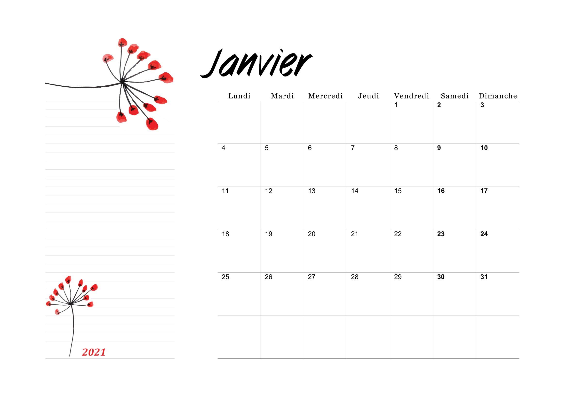 Calendrier 2021 Mensuel à Imprimer (pdf gratuit)   Calendrier