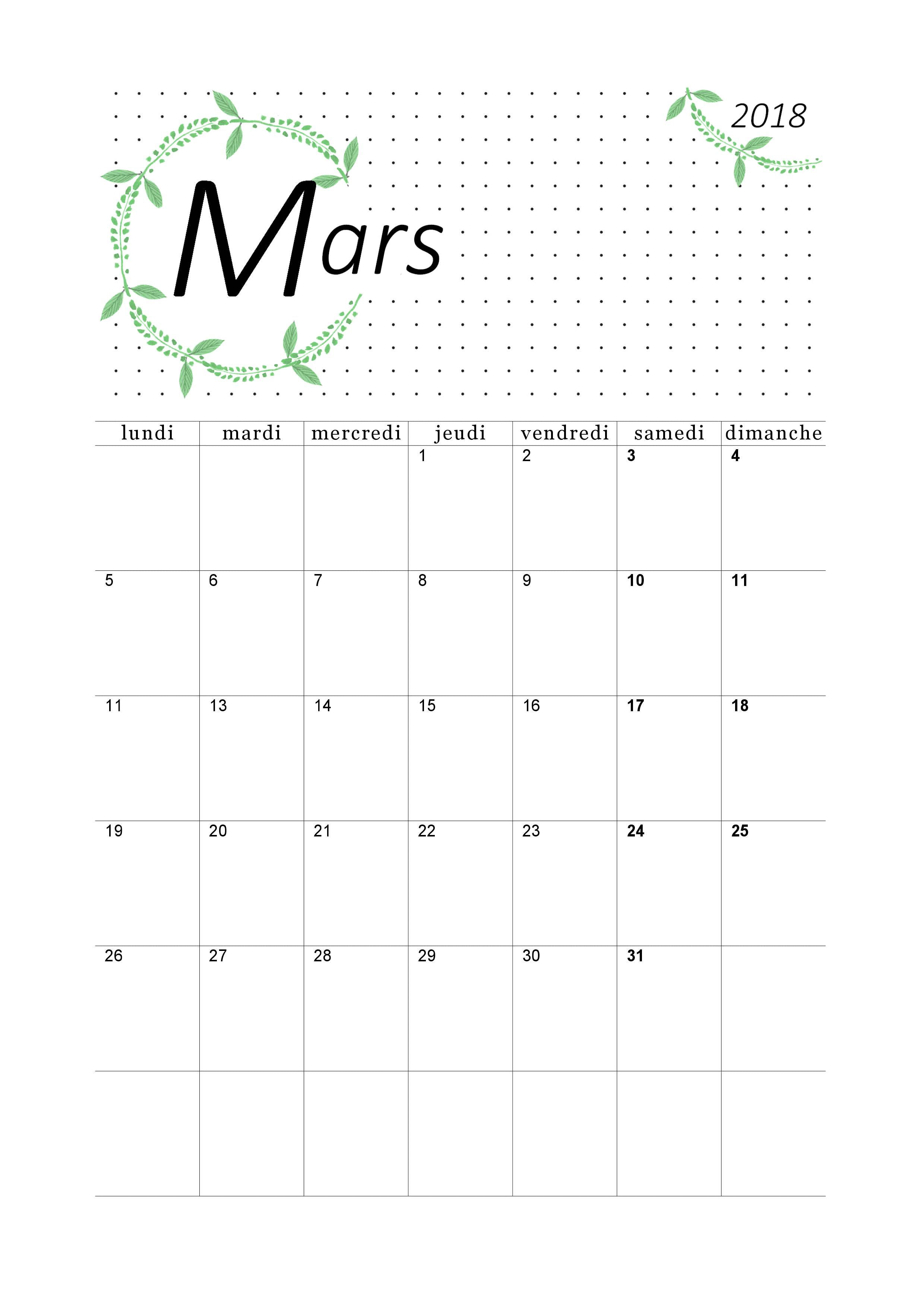 Calendrier Mars 2018 Imprimer Calendriers Imprimables Pdf