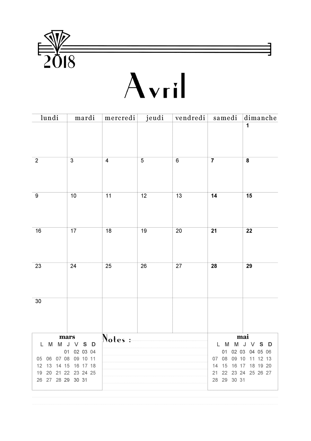 Calendrier avril 2018 imprimer calendriers imprimables for Art et decoration avril 2016