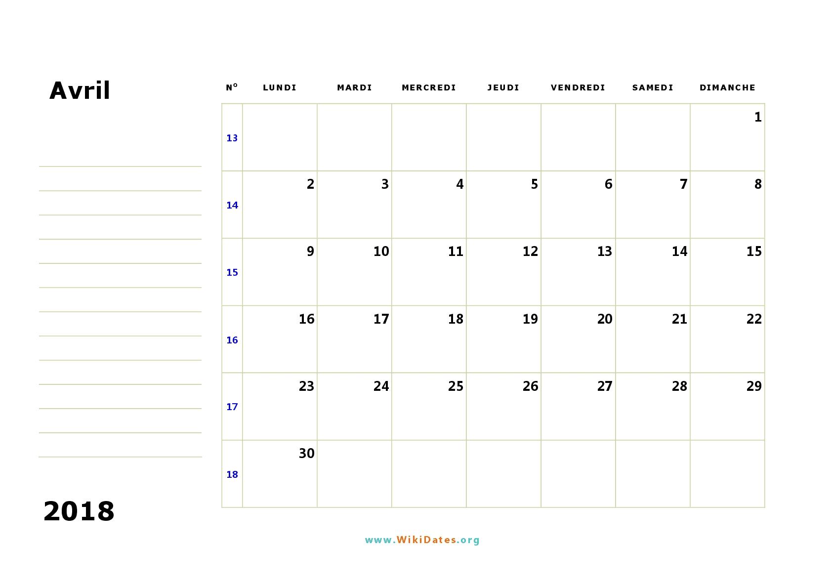 Calendrier avril 2018 imprimer calendriers imprimables pdf - Calendrier du mois de juin 2017 ...