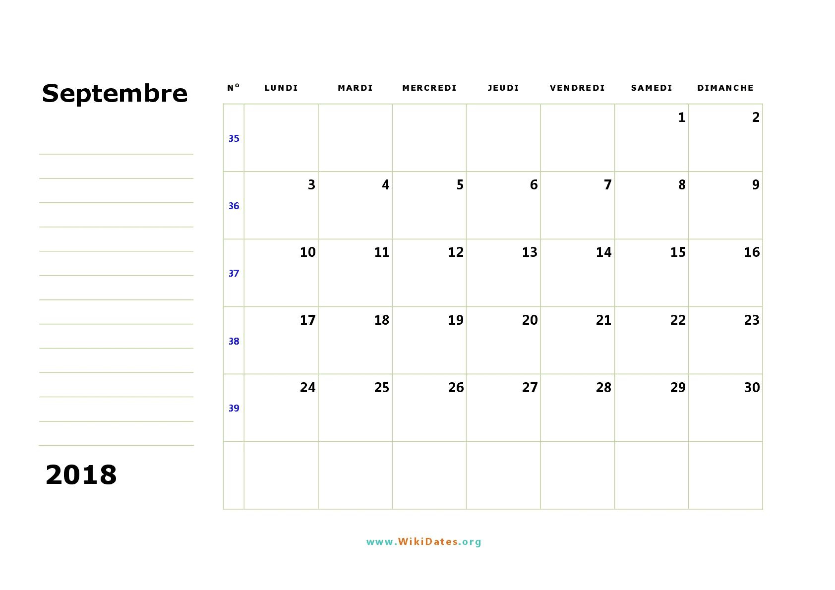 calendrier mois septembre 2018