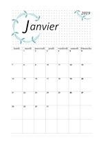 Calendrier Janvier 2019 à imprimer - Calendriers imprimables PDF