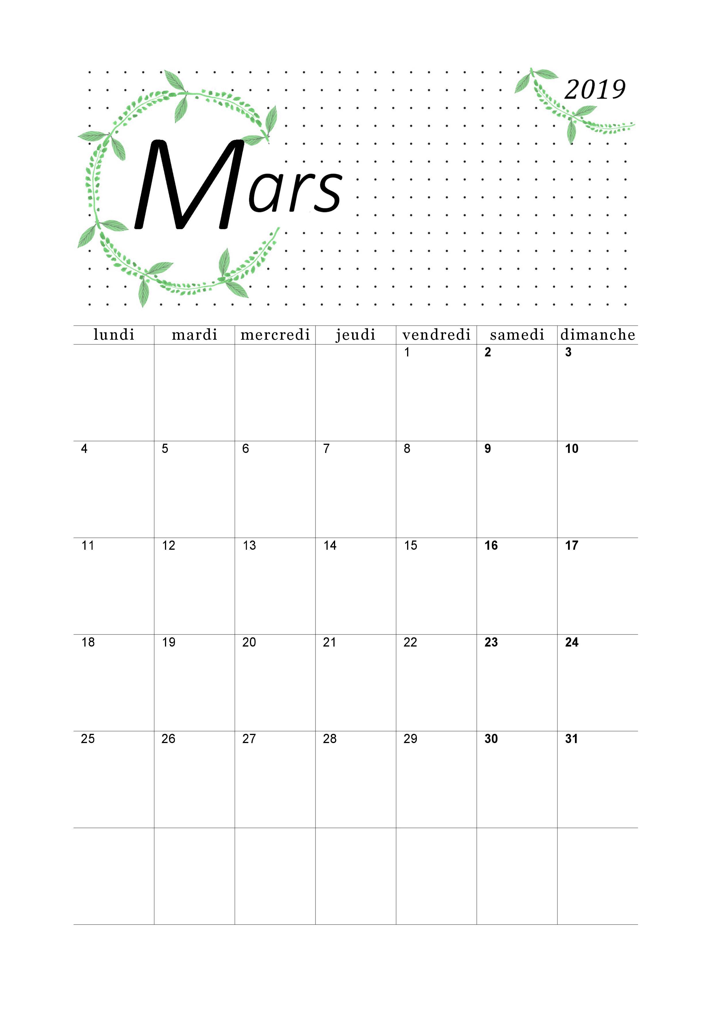 Mars Calendrier 2019 A Imprimer Format Pdf