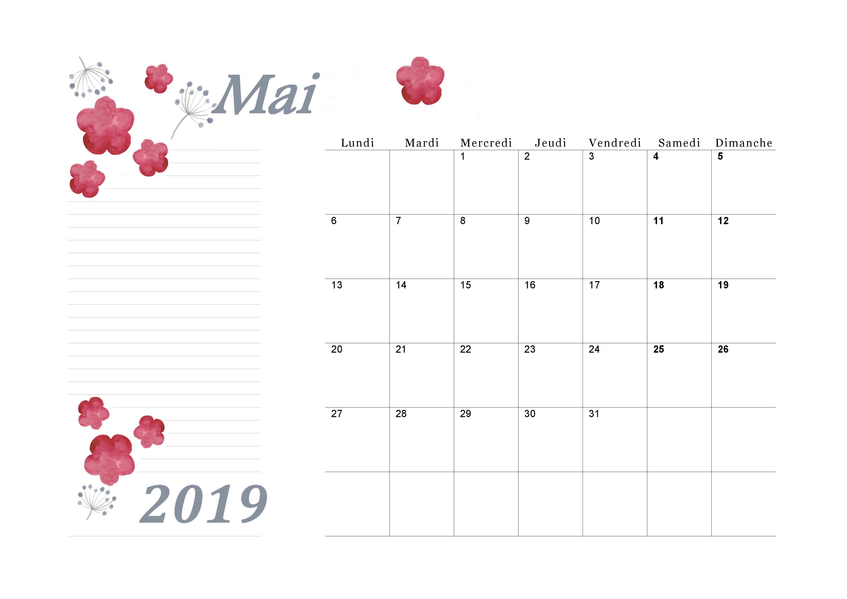 Calendrier Mai2019.Calendrier Mai 2019 A Imprimer Calendriers Imprimables En