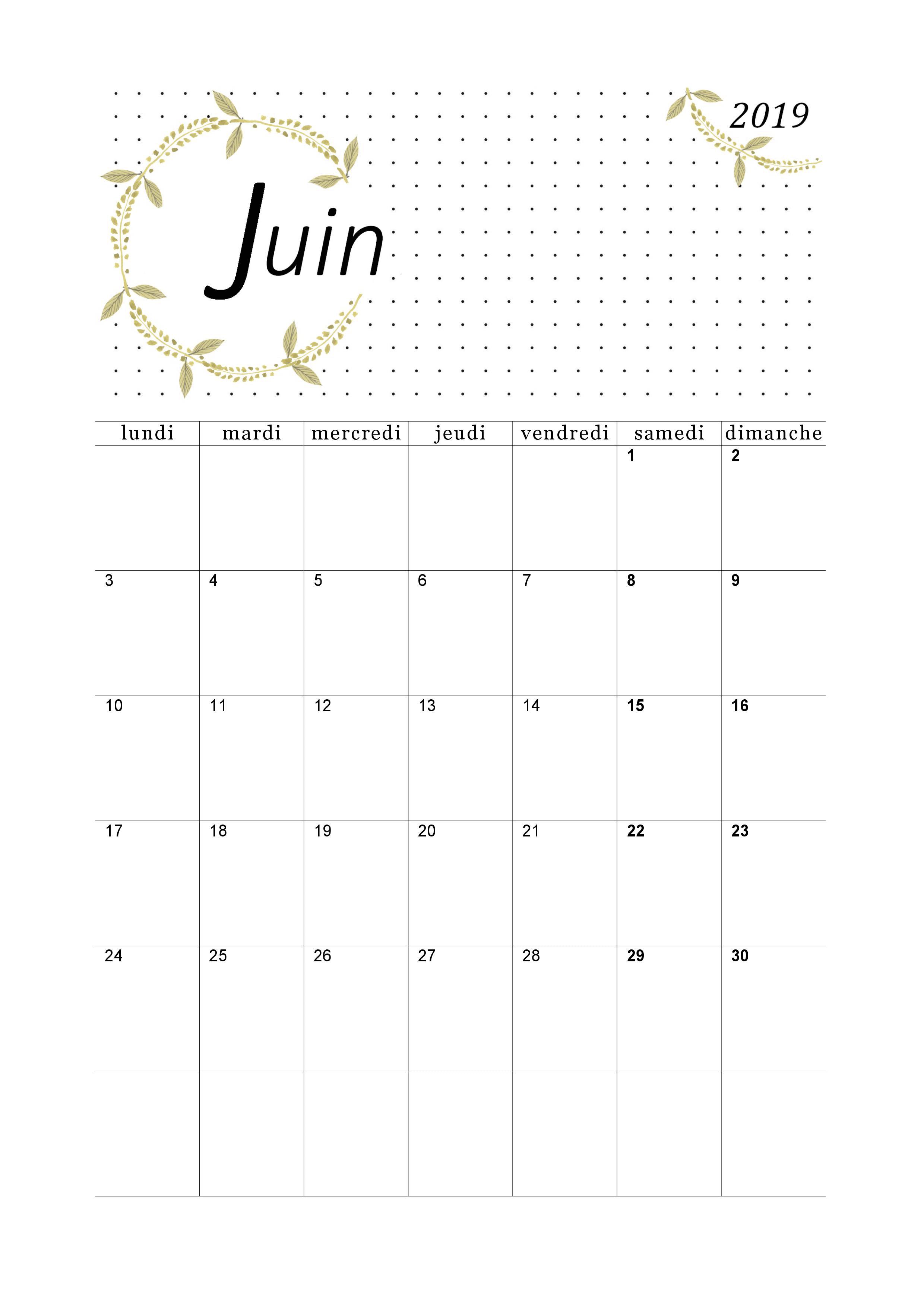 Calendrier Juin 2019 A Imprimer Calendriers Imprimables En