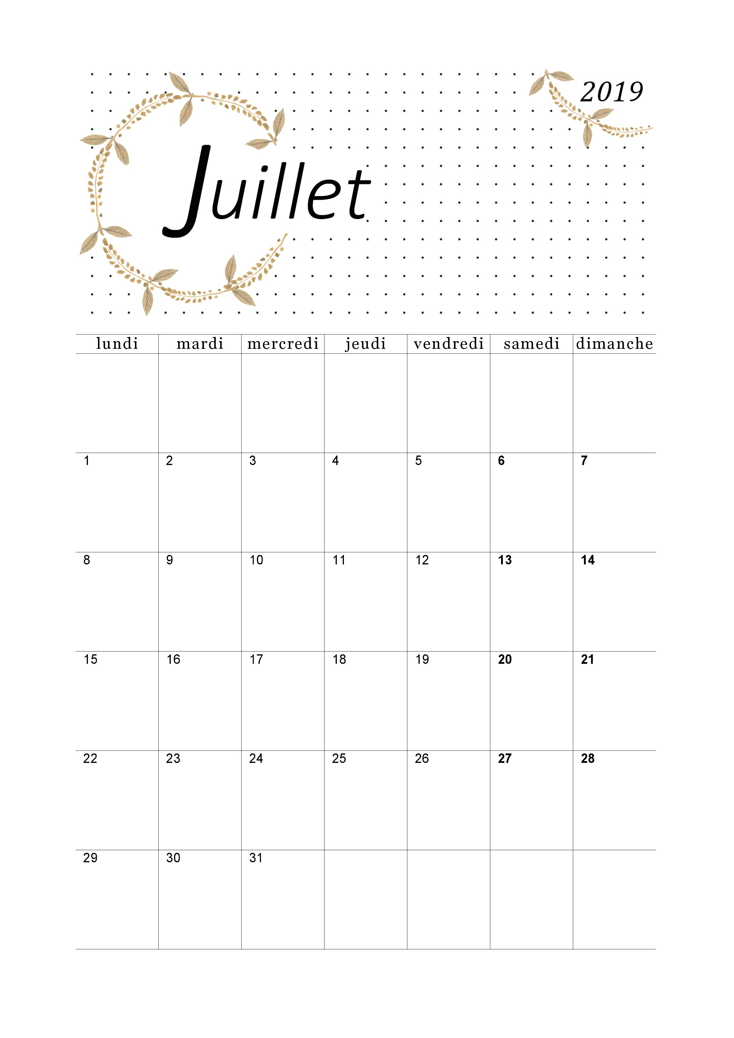 Calendrier A Imprimer Juillet 2019.Calendrier Juillet 2019 A Imprimer Calendriers Imprimables
