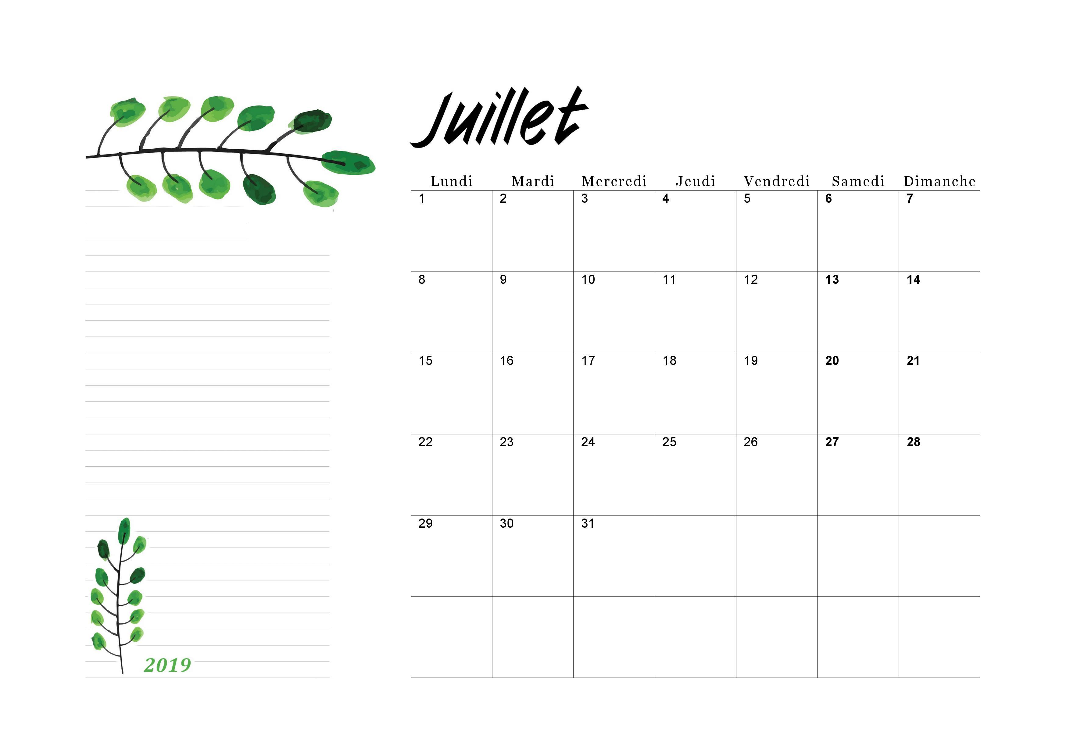 Calendrier Du Mois De Juillet 2019.Calendrier Juillet 2019 A Imprimer Calendriers Imprimables