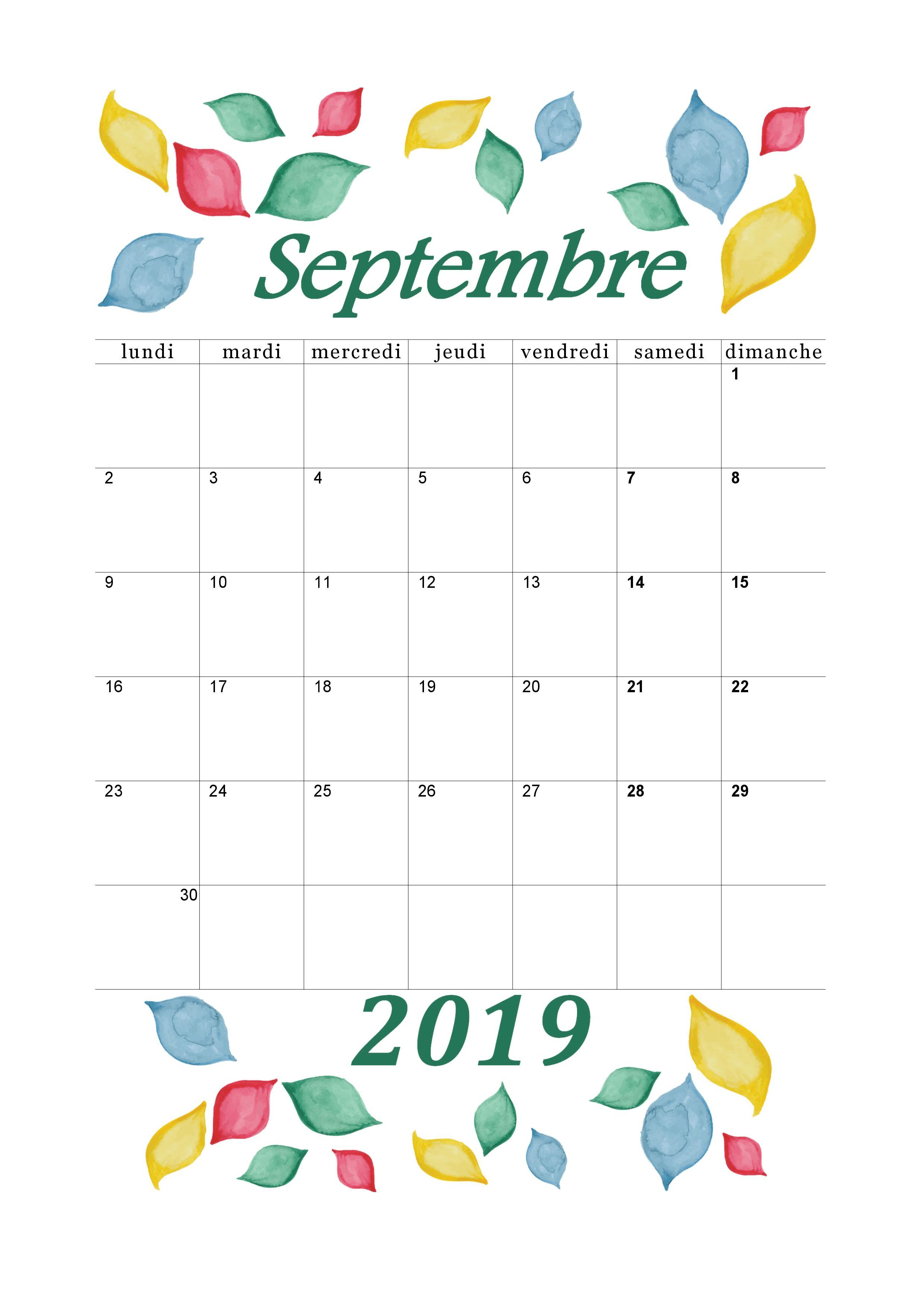 Calendrier Mois De Septembre.Calendrier Septembre 2019 A Imprimer Calendriers