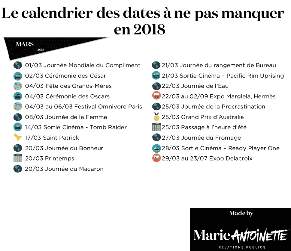 calendrier mars 2018 imprimer calendriers imprimables pdf. Black Bedroom Furniture Sets. Home Design Ideas