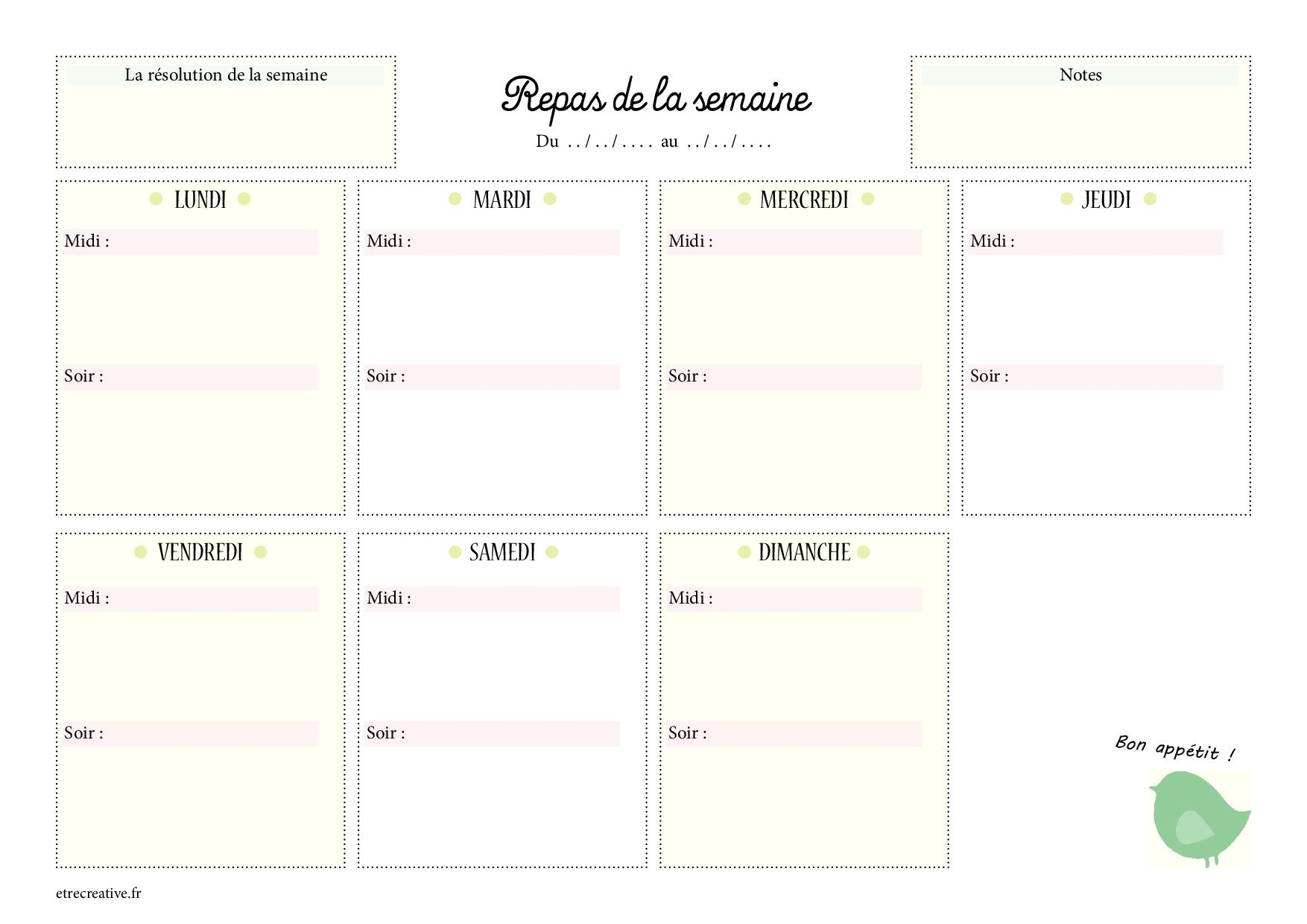 menus de la semaine imprimer plannings vierges pdf. Black Bedroom Furniture Sets. Home Design Ideas