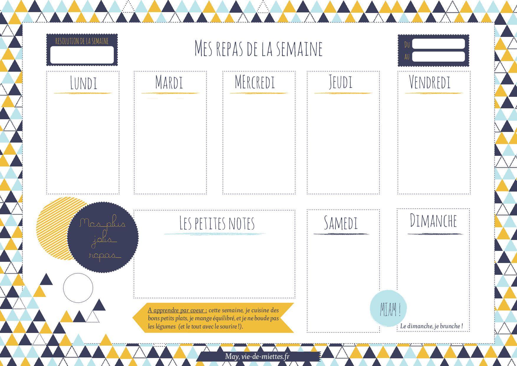 Assez Menus de la semaine à imprimer - Plannings vierges PDF. MW66