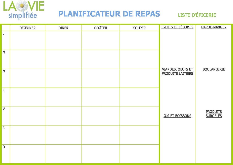 Menus de la semaine imprimer plannings pdf for Menu dimanche midi entre amis