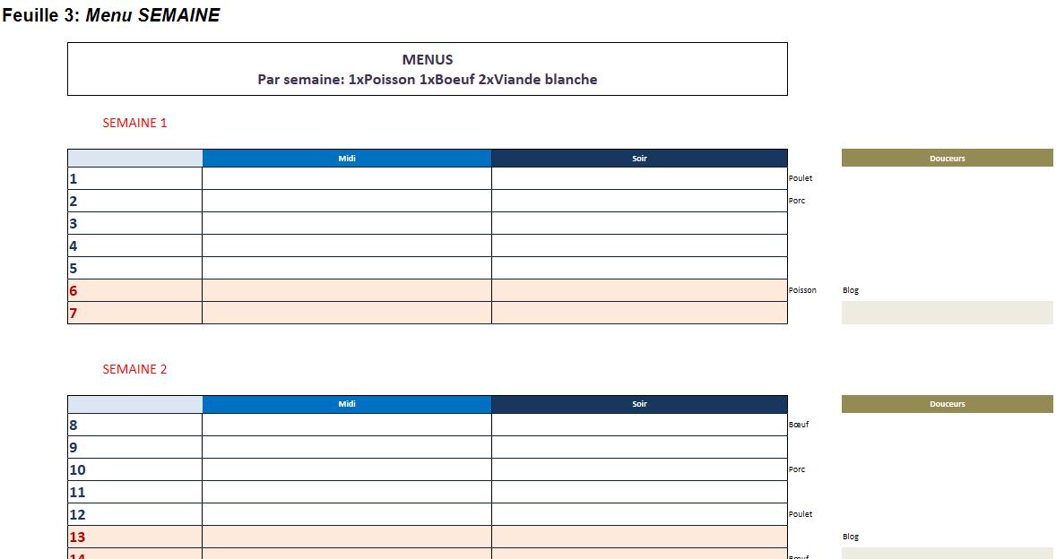 Calendrier Semaine Excel.Plannings Vierges Pdf Menus De La Semaine A Imprimer