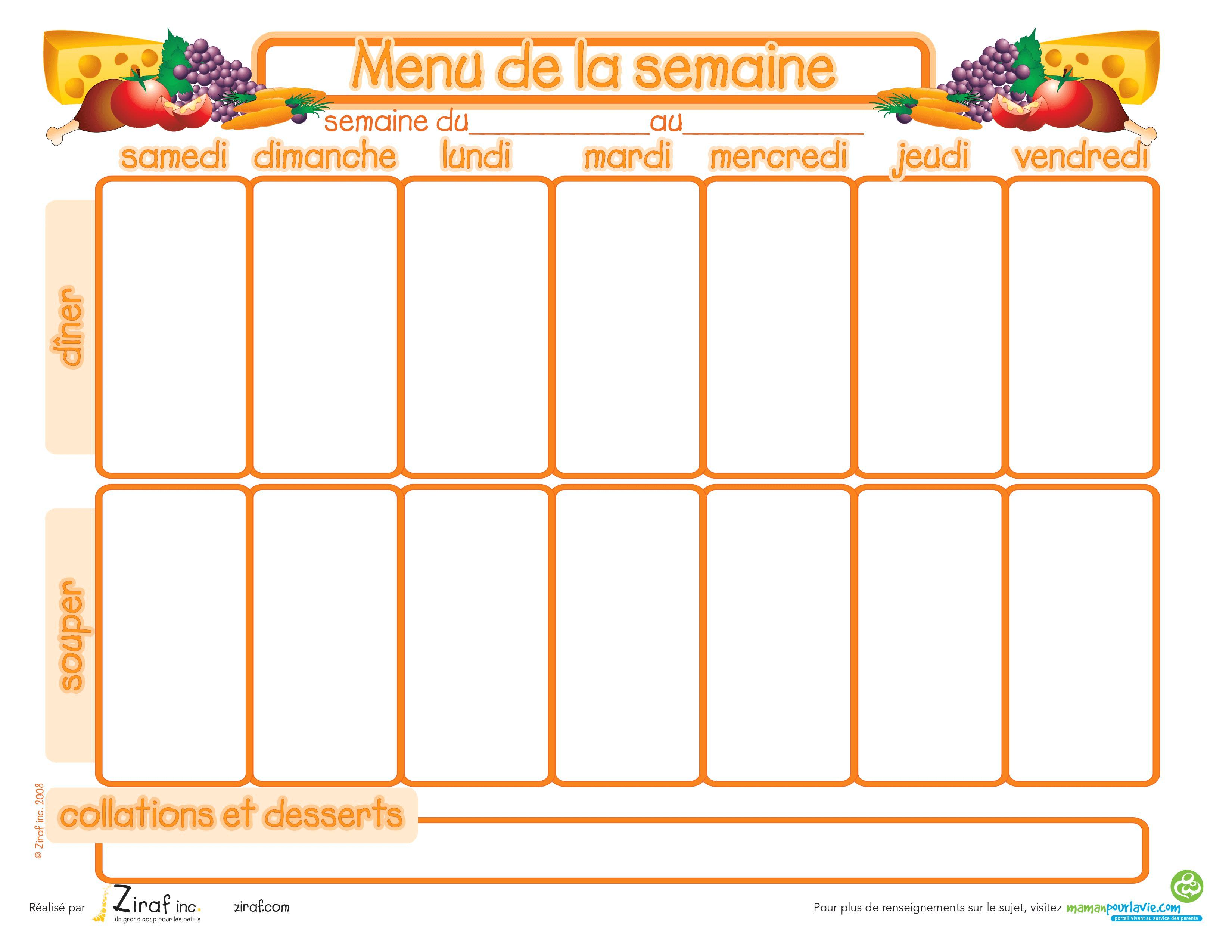 Menus de la semaine imprimer plannings vierges pdf for Menu dimanche midi entre amis