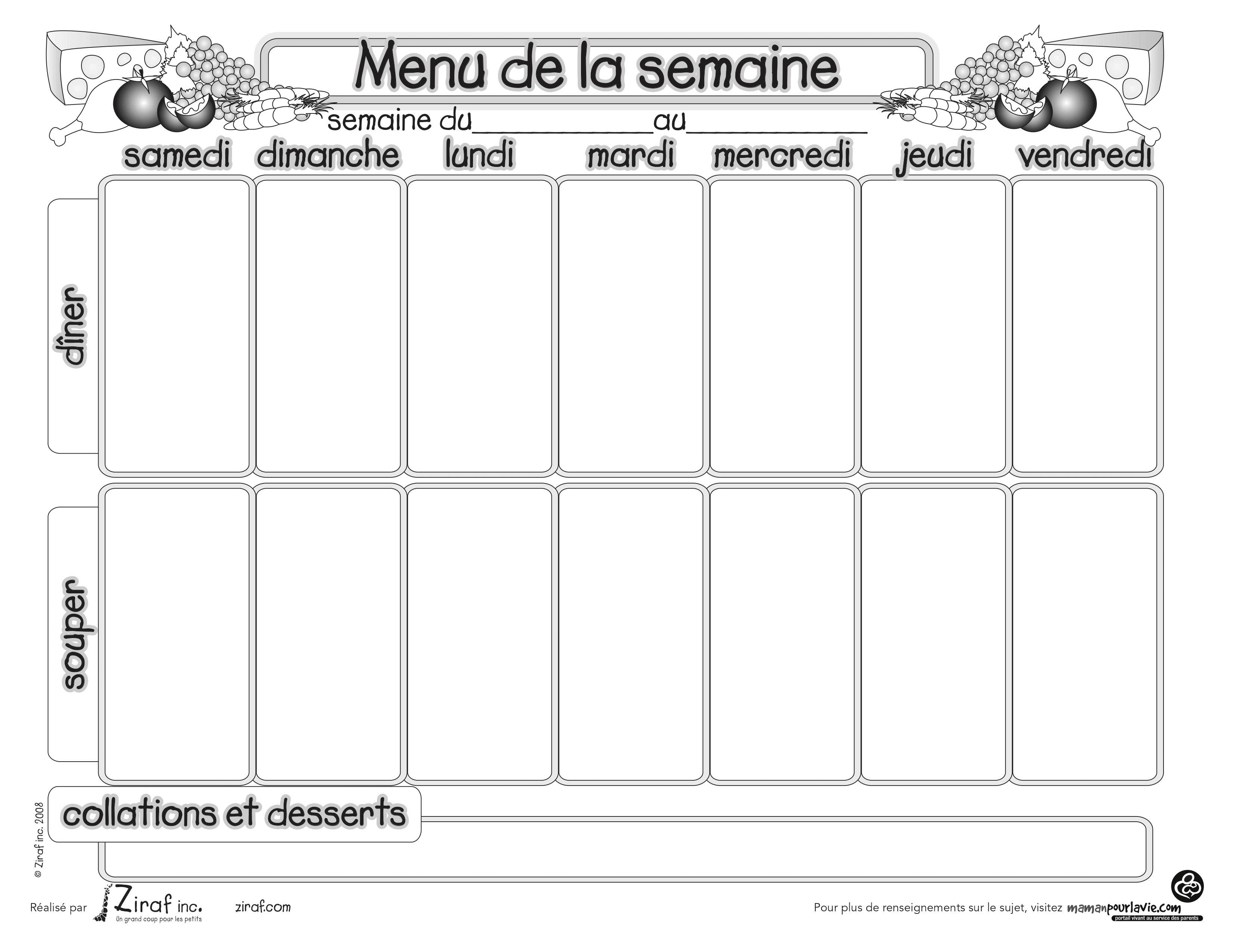 Menus de la semaine imprimer plannings vierges pdf - Cuisiner le dimanche pour la semaine ...