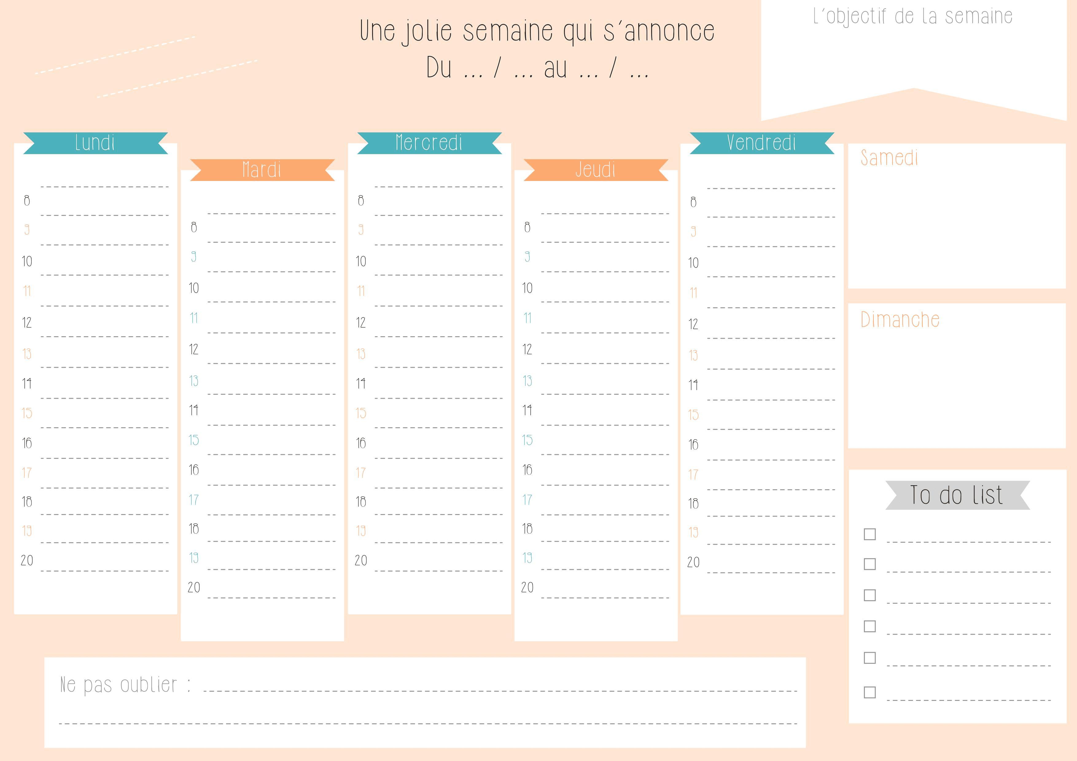 Planning de semaine et agenda imprimer gratuitement for Bureau 04 peipin horaires