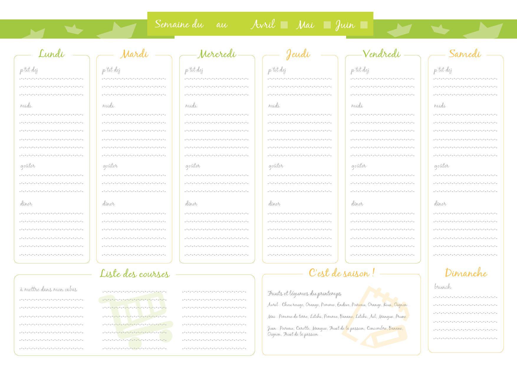 Nous vous proposons cet organisateur de menu, pour la planification de ...