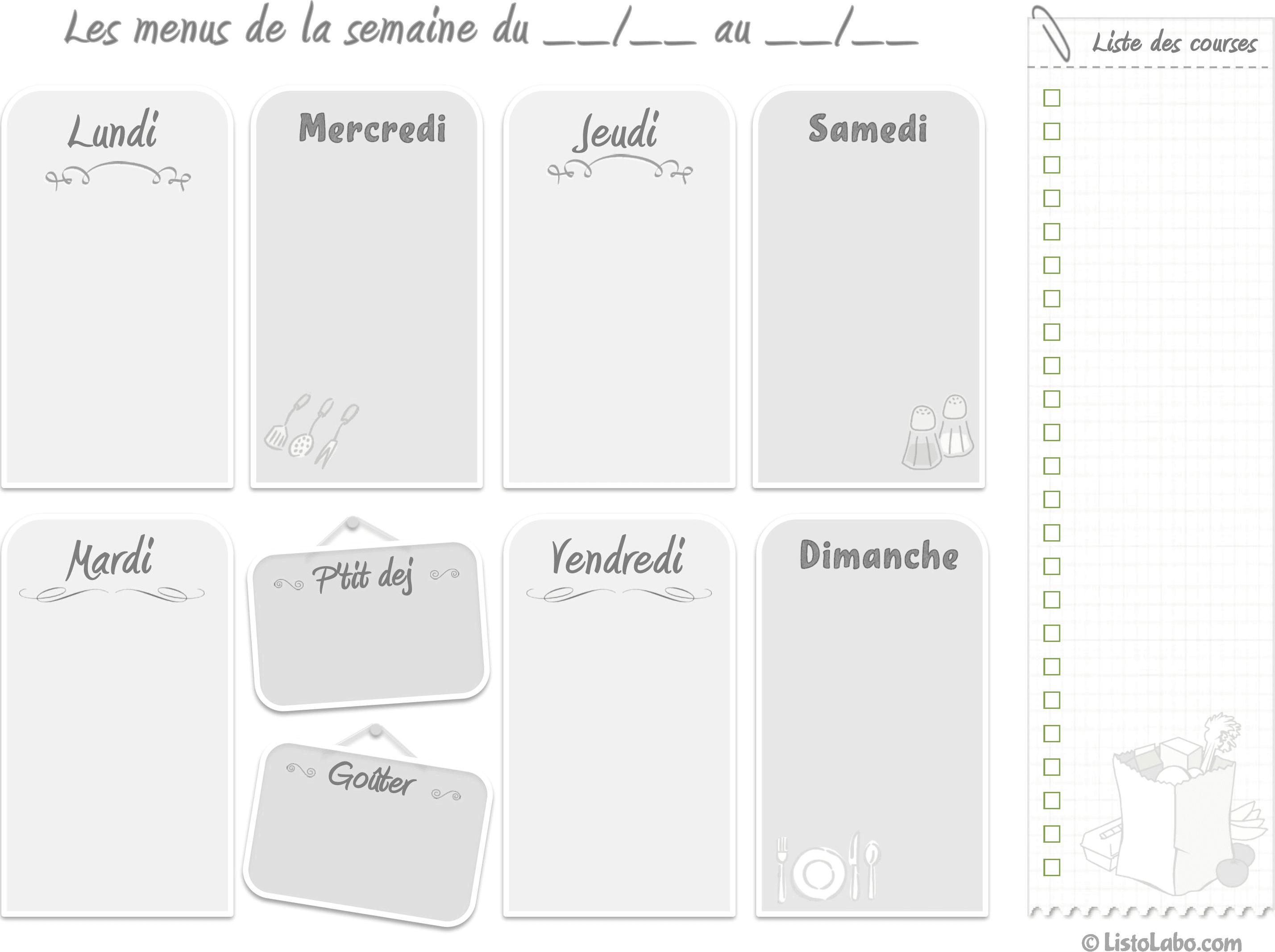 Menus De La Semaine A Imprimer Plannings Vierges Pdf