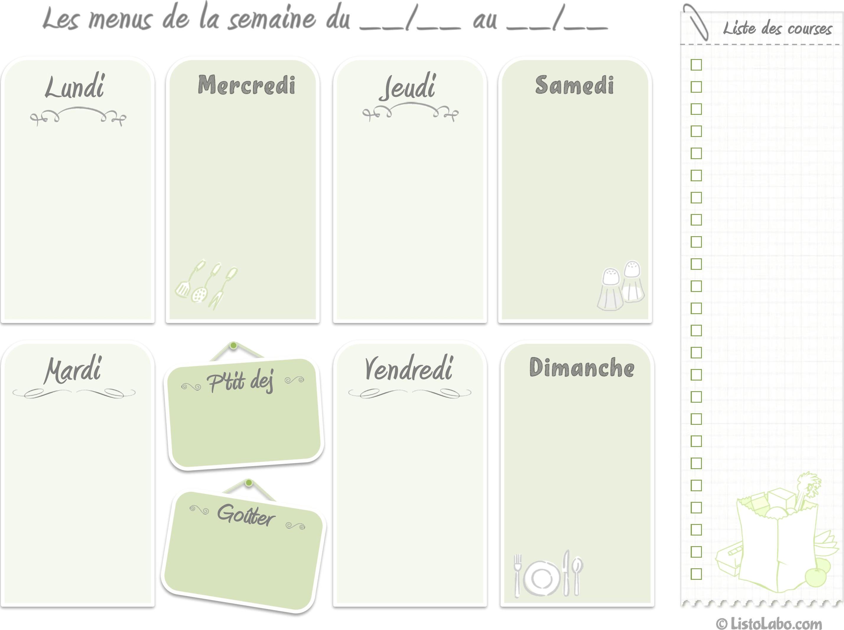 Connu Menus de la semaine à imprimer - Plannings vierges PDF. MB77