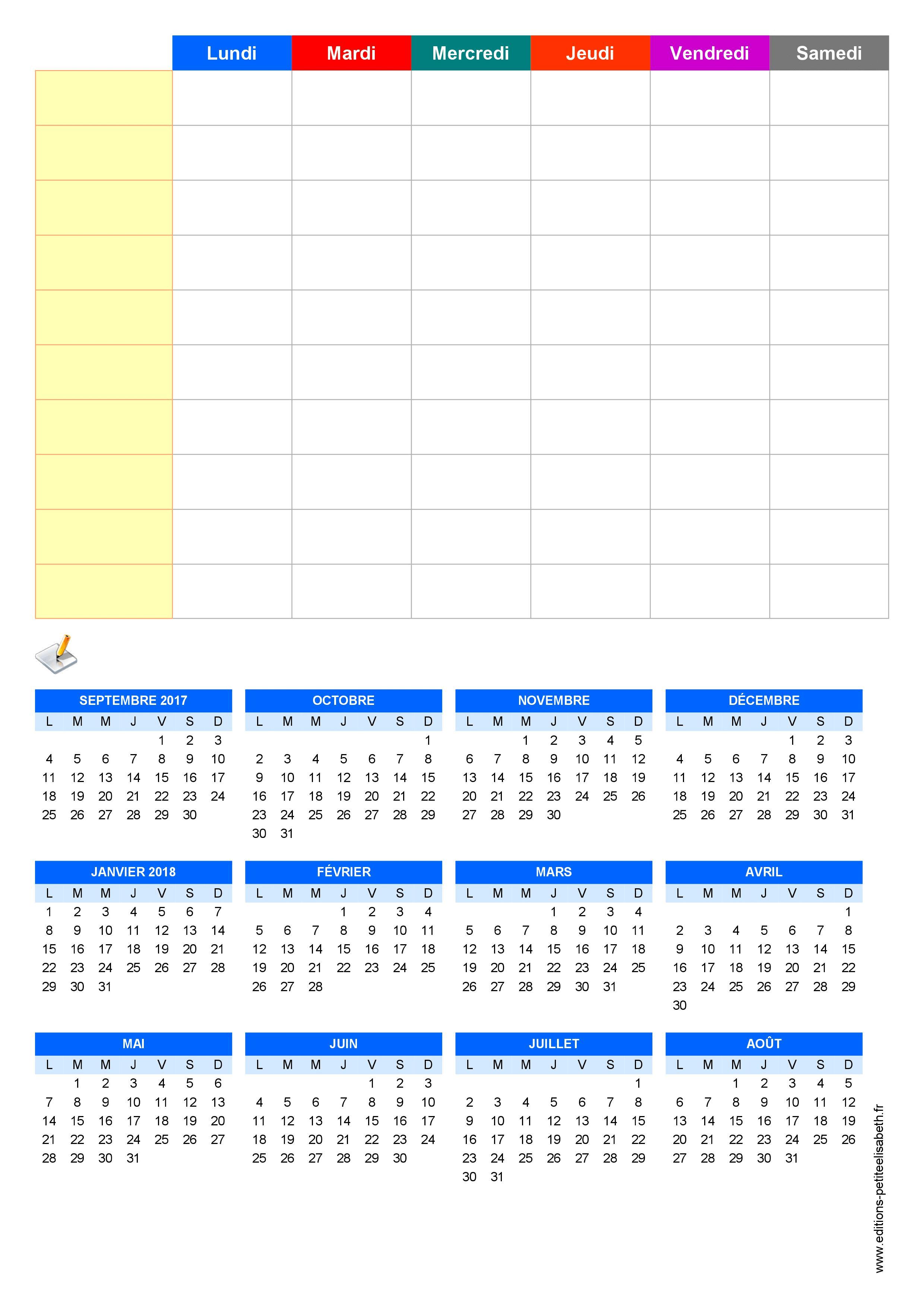 Assez Planning de semaine et agenda à imprimer gratuitement - Partie #1. CE03