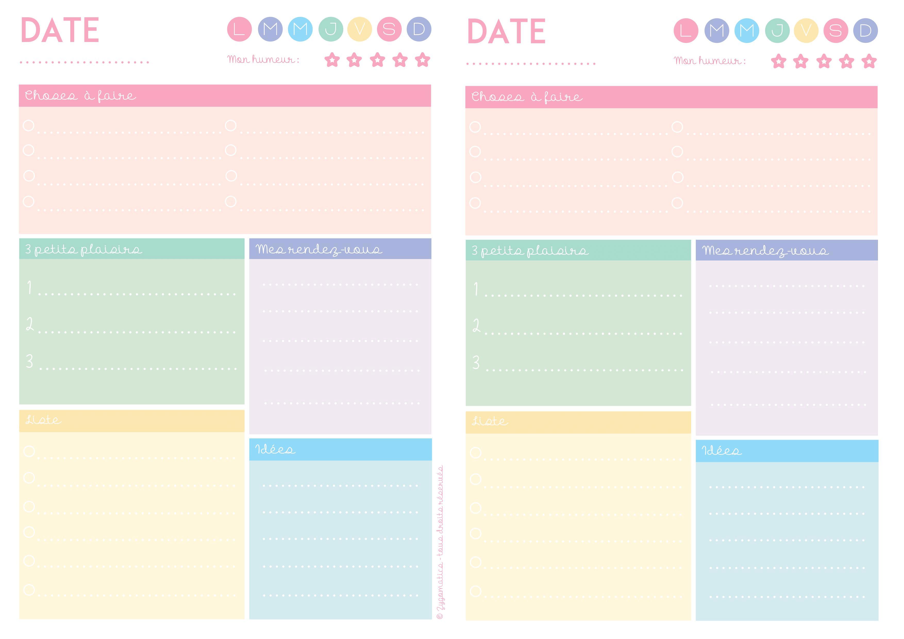 Connu Planning de semaine et agenda à imprimer gratuitement - Partie #2. VX11