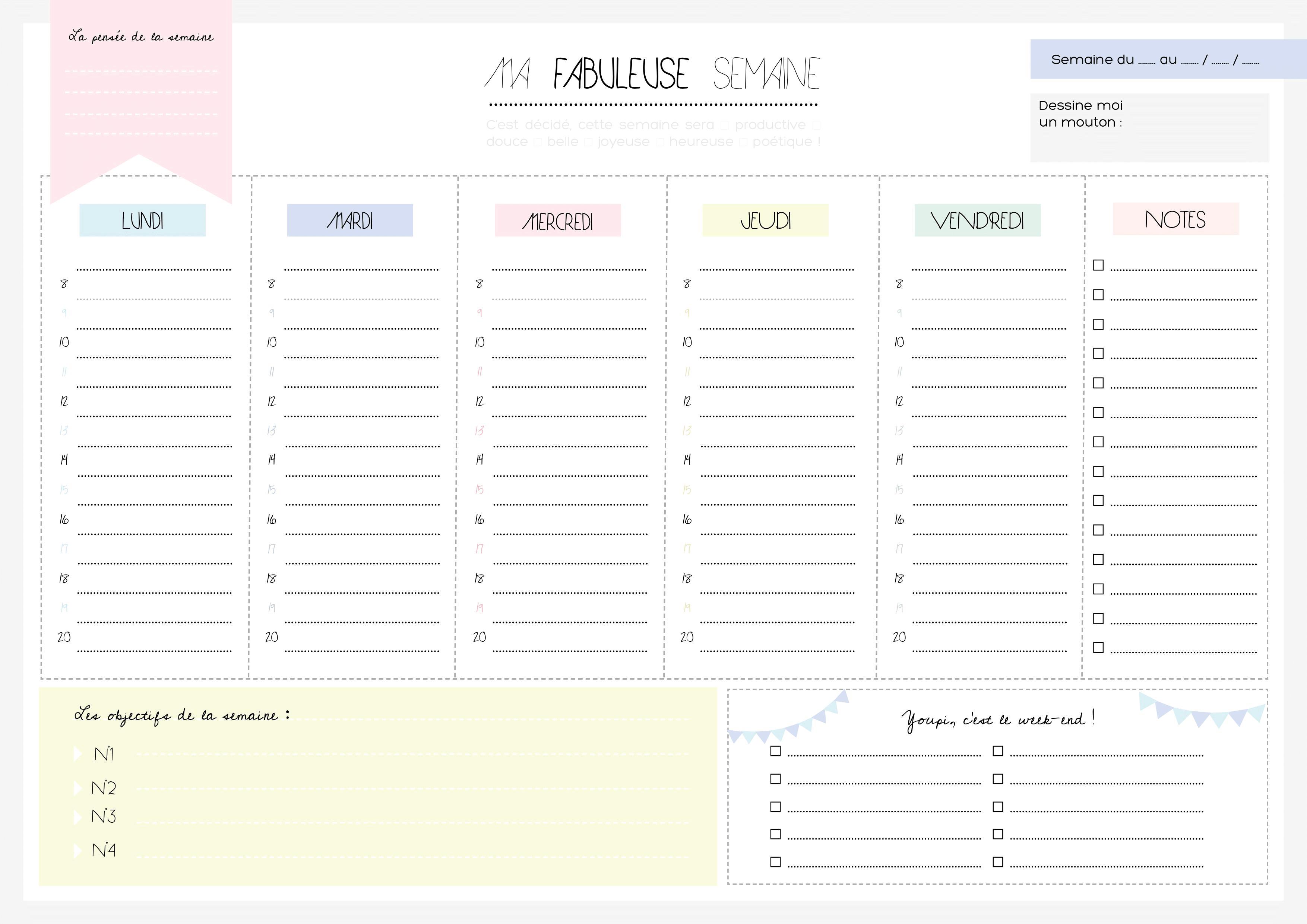 Bien-aimé Planning de semaine et agenda à imprimer gratuitement - Partie #2. JA44
