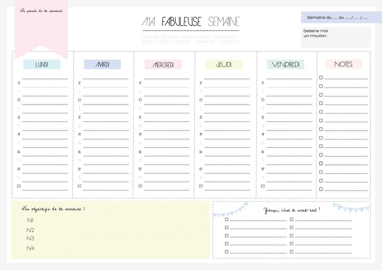 semainier planning semaine pdf agenda hebdomadaire imprimer. Black Bedroom Furniture Sets. Home Design Ideas